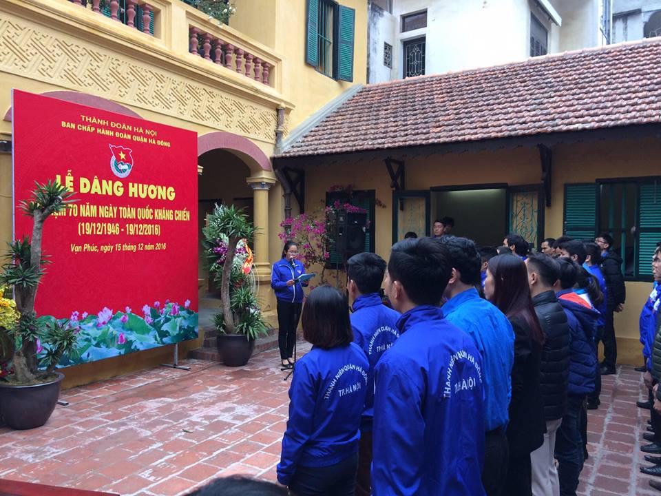 Quận Đoàn Hà Đông tổ chức Lê dâng hương tưởng niệm Chủ tịch Hồ Chí Minh